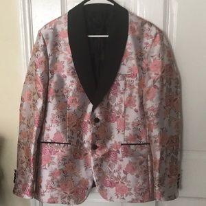 Zara embellished floral jacquard blazer